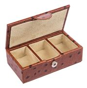 Redd Leather - Ostrich Tan Leather Small Cufflink Box