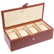 Redd Leather - Small Ostrich Tan Leather Watch Box