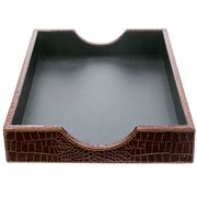 Graphic Image - Brown Crocodile Print Leather Paper Tray