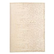 Graphic Image - Beige Ring Lizard Leather Passport Cover