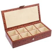 Redd Leather - Ostrich Leather Cufflink Box Tan
