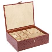 Redd Leather - Large Ostrich Tan Leather Accessories Box