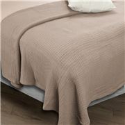 Onkaparinga - Moss Stitch Natural Cotton Linen Sngl Blanket