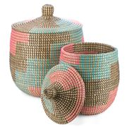 Tribe Home - Pink, Aqua & Black Storage Basket Set 2pce