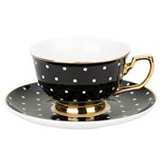 Cristina Re - Signature Teacup & Saucer Ebony Polka
