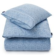 Lexington - Printed Sateen Flat Sheet Blue/White Queen