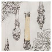 IHR - Cutlery Lunch Napkin White/Silver 20pce
