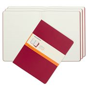 Moleskine - Cahier Extra Large Red Ruled Notebook Set 3pce