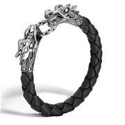 John Hardy - Naga Black Woven Leather Dragon Women Bracelet
