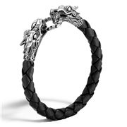 John Hardy - Naga Black Woven Leather Dragon Men's Bracelet