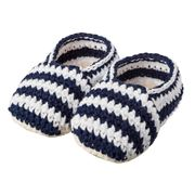 Tippy Toes - Baby Booties Navy/White Stripes