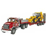Bruder - MACK Granite Low Loader w/JCB 4CX Backhoe Loader