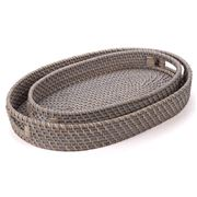 Rattan - Tray Oval Greywash Set 2pce