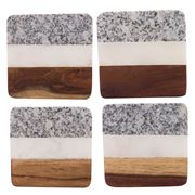 Industrial Luxe - Sheesham Marble & Granite Coaster Set 4pce
