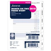 Filofax - Pocket Month On Two Pages w/Month Tabs 2018 Refill