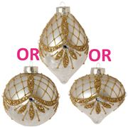 Raz - Golden Botanical Glitter Designed  Ornament
