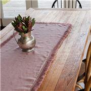 Bullseye - Stonewash Linen T/Runner w/Fringed Edging Pink