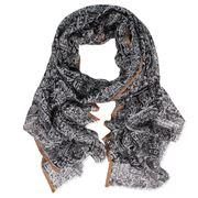 DLUX - Carousel Wool/Silk Black Print Scarf