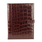 Redd Leather - Crocodile Leather A4 Notepad Holder Chocolate