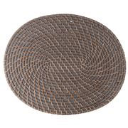 Rattan - Oval Greywash Placemat 38cm