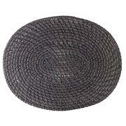 Rattan - Oval Placemat Blackwash 38cm