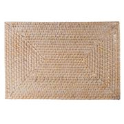 Rattan - Rectangle Whitewash Placemat 46x31cm