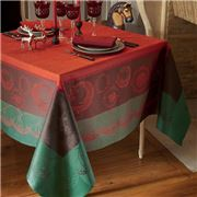Garnier-Thiebaut - Christmas Forest Red Tablecloth 175x365cm