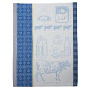 Garnier-Thiebaut - La Vache et Le Lait Bleu Tea Towel