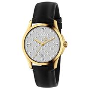 Gucci - G-Timeless Silver Diamante Dial Blk Strap Watch 38mm