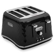 DeLonghi - Brillante Four Slice Toaster CTJX4003 Black