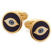 Halcyon Days - Evil Eye Navy & Gold Cufflinks