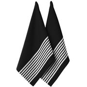 Ladelle - Butcher Stripe Series II Tea Towel Set Black 2pce