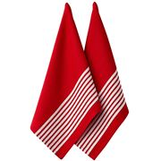 Ladelle - Butcher Stripe Series II Tea Towel Set Red 2pce