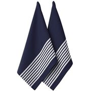 Ladelle - Butcher Stripe Series II Tea Towel Set Navy 2pce