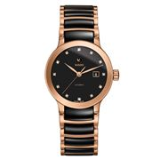 Rado - Centrix Auto. Diamonds Black & Pink Gold Watch 28mm