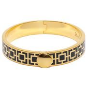 Halcyon Days - Mosaic Black & Gold Hinged Bangle