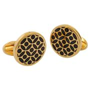 Halcyon Days - Rose Black & Gold Cufflinks