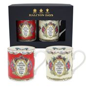 Halcyon Days - Vivat Regina Red & Ivory Mug Set 2pce