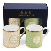 Halcyon Days - Royal Wedding Green & Ivory Mug Set 2pce