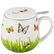 Konitz - Butterfly Multi-Colour Mug With Strainer & Lid