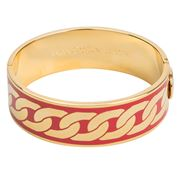 Halcyon Days - Curb Chain Red Gold Hinged Bangle