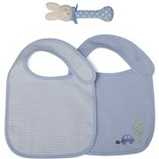 Marquise - Bibs And Rattle Blue Set 3pce