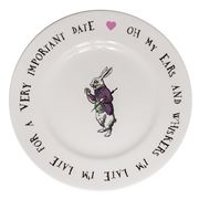 Mrs Moore - Alice In Wonderland White Rabbit Tea Plate