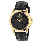Gucci - G-Timeless Black GG Dial Black Strap Watch 38mm