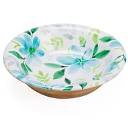 Industrial Luxe - Petals Mango Wood Bowl Blue Medium