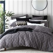 Private Collection - Chiswick Quilt Cover Set Charcoal Queen