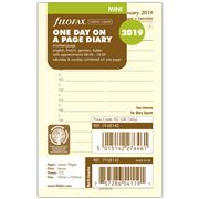 Filofax - Mini One Day On One Page Cream 2019 Diary Refill