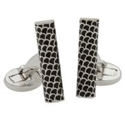 Halcyon Days - Salamander S/Tube Black & Palladium Cufflinks