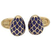 Halcyon Days - Agama Egg Deep Cobalt & Gold Cufflinks