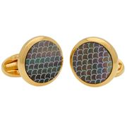 Halcyon Days - Salamander Round MOP Cufflinks Black & Gold